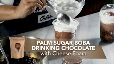 Palm Sugar Boba Drinking Chocolate with Cheese Foam